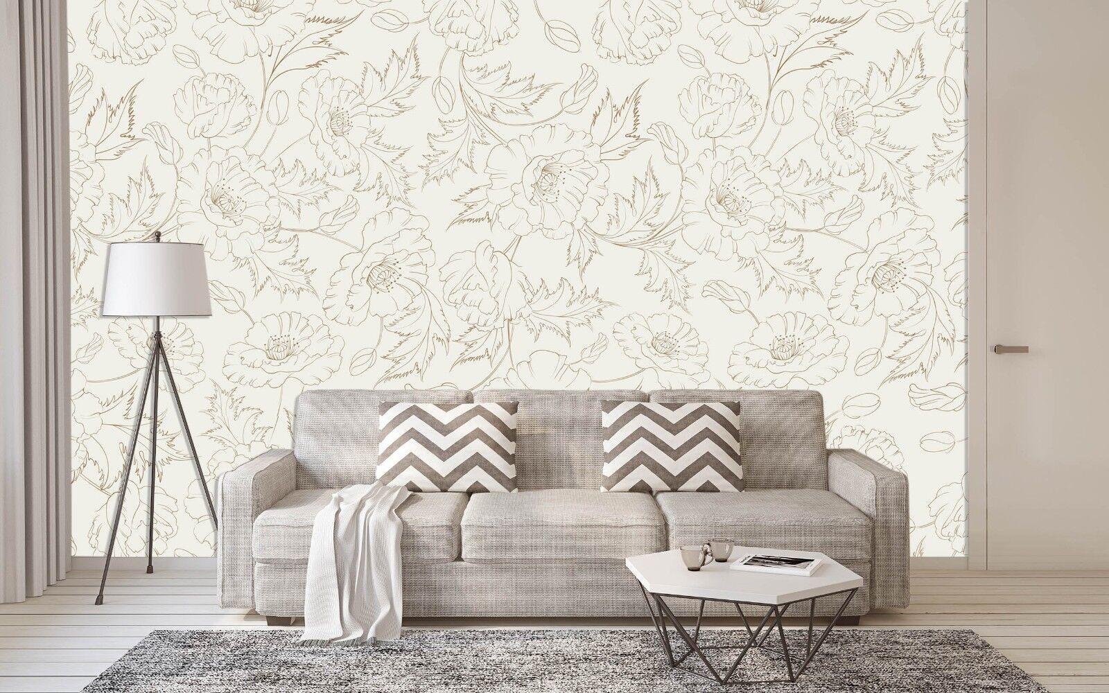 3D Hand Painted Flowers 4 Wallpaper Murals Wall Print Wallpaper Mural AJ WALL AU