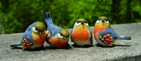 Mini Resin Blue Bird Figurines Set of 4