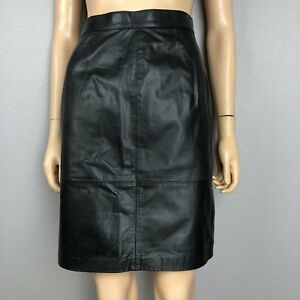 cc3f6fa6132f 80's Vintage Women's Black Leather Pencil Skirt XS Petite High ...