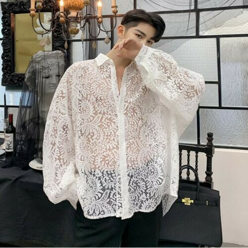 Mens Personalized Loose Fit Lace Blouse Long Sleeve Cut Out Lace Casual T-shirts