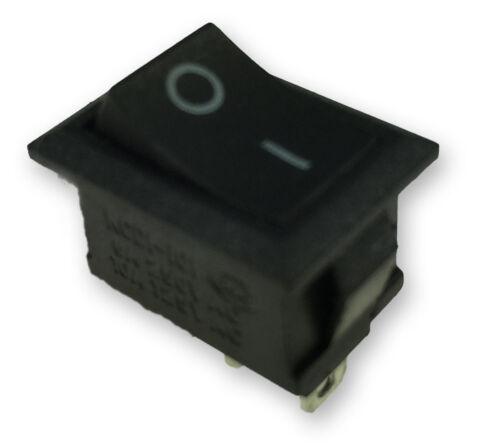 250V // 6A ohneKontr.1x Um Wippschalter Schwarz,Mini/_ Einbau