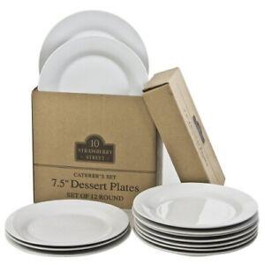 Round-Salad-Dessert-Plates-12-PC-Gray-White-7-5-034-Porcelain-Party-Tableware-Set