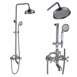Brushed nickel 8 inch rain shower faucet set wall mount - 8 inch brushed nickel bathroom faucet ...