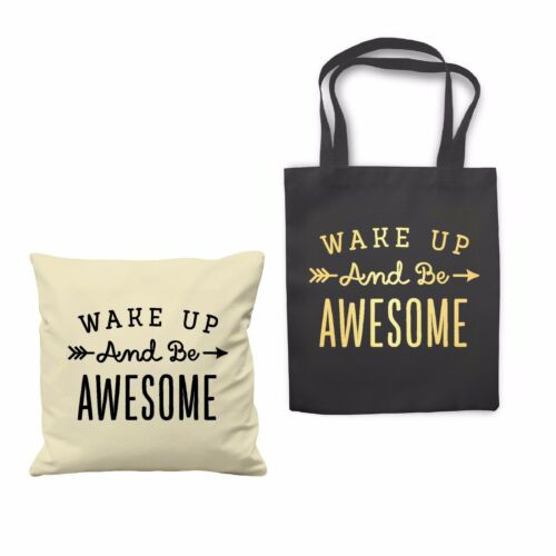 Wake Up and Be Awesome Good Vibe Quote Cushion Cover Case Shopping Tote bag Gift