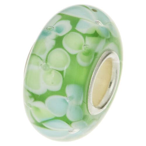Argent Sterling 925 ronde fleur vert perle de verre pour European Charm Bracelets