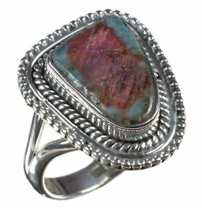 Handmade-925-Solid-Sterling-Silver-Ring-Natural-Tourmaline-US-Size-7-R3157