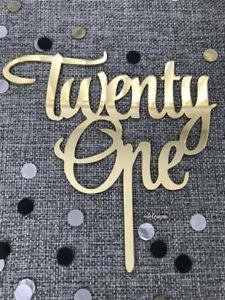 Admirable Twenty One Acrylic Gold 21St Birthday Cake Topper Ebay Funny Birthday Cards Online Amentibdeldamsfinfo