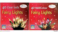 40 Clear or Multi Colour Bulb Christmas Fairy Lights Xmas Tree Decoration Party
