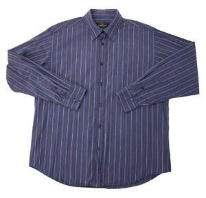 Mens-Bugatchi-Uomo-Button-Down-Dress-Shirt-size-Large-Long-Sleeve-Striped