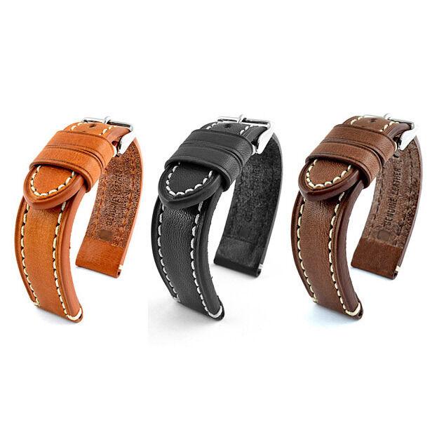 18mm, 20mm, 22mm, 24mm Cuero Correa Reloj guality Banda CATALUÑA Negro Marrón