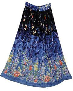 Indian-Print-Long-Skirt-Elastic-Waist-Usa-Broomstick-Women-Size-Free-Ethnic-Maxi