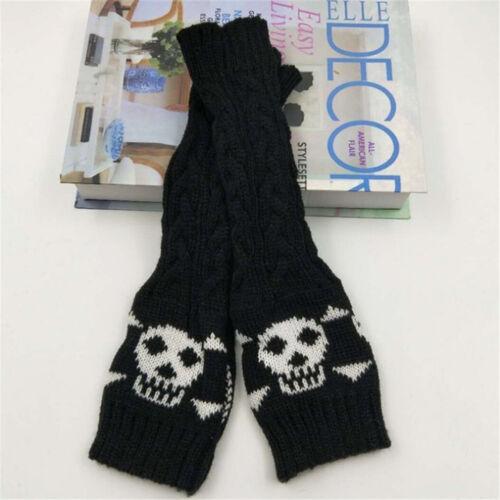 Halloween Skull Knitted Wrist Arm Fingerless Mittens Winter Gloves Soft Warm U9