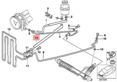 Genuine BMW E46 Cabrio Power Steering Radiator Return Hose OEM 32416759633