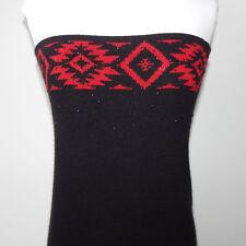 RALPH LAUREN Red Aztec Southwest Maxi Black Strapless Wool Sweater Dress Sz - M