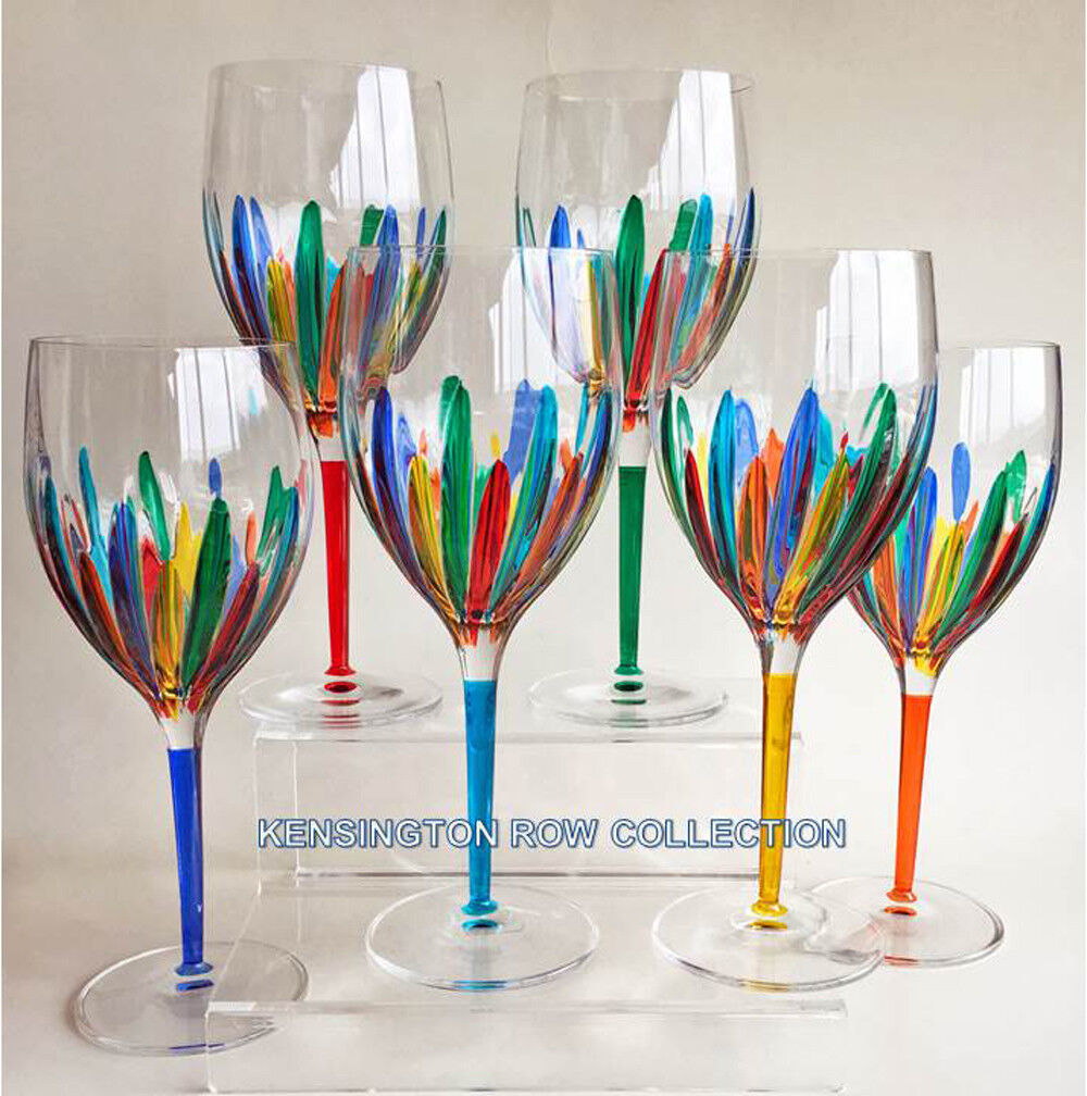 RAVENNA  OVERTailleD WINE GLASSES - SET OF SIX - HAND PAINTED VENETIAN GLASSWARE