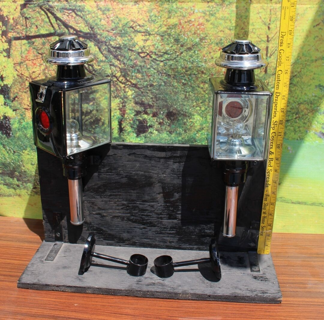 Pair of new horse drawn 12 volt carriage lamps stainless  trim full size SQUARE  cheapest