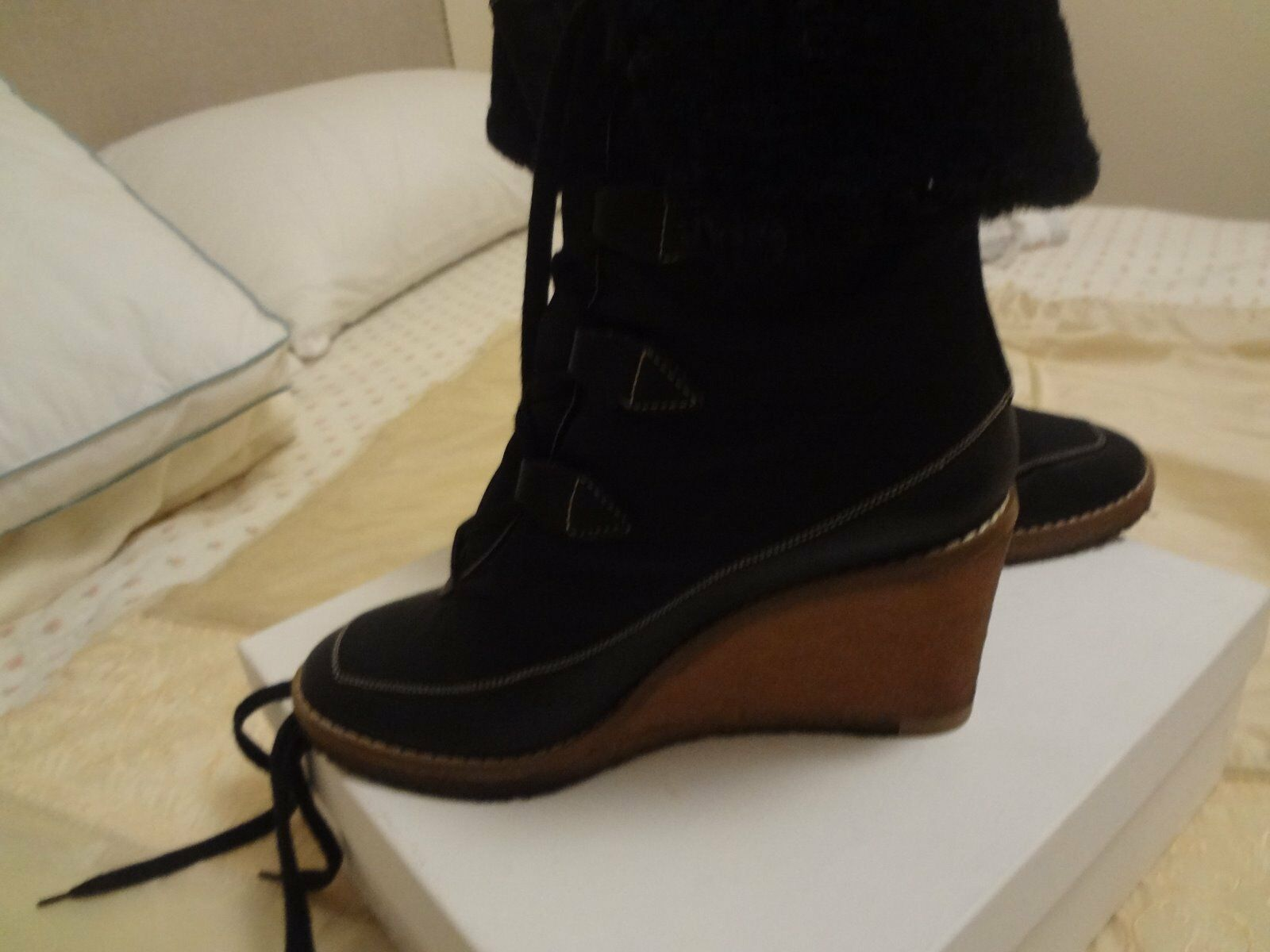 CHLOE Black Lace Up Wedge Ankle Boots Sz 38 GREAT