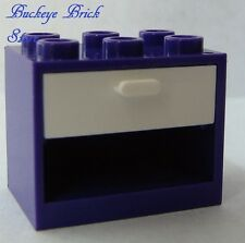 NEW Lego PURPLE CUPBOARD Container kITCHEN Nightstand w/ WHITE Box Drawer