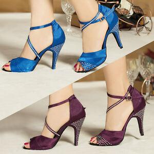sombras de comprar real precio competitivo Detalles de Cristal Strass Tacones Zapatos De Raso De Baile Latino Suave  Nueva Mujer Tango