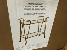 Linon Round Gold Metal Bar Cart For