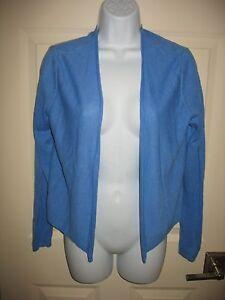 J-JILL-CARDIGAN-SWEATER-Sz-XS-Blue-Open-Front-Linen-Blend-Lightweight-Womens