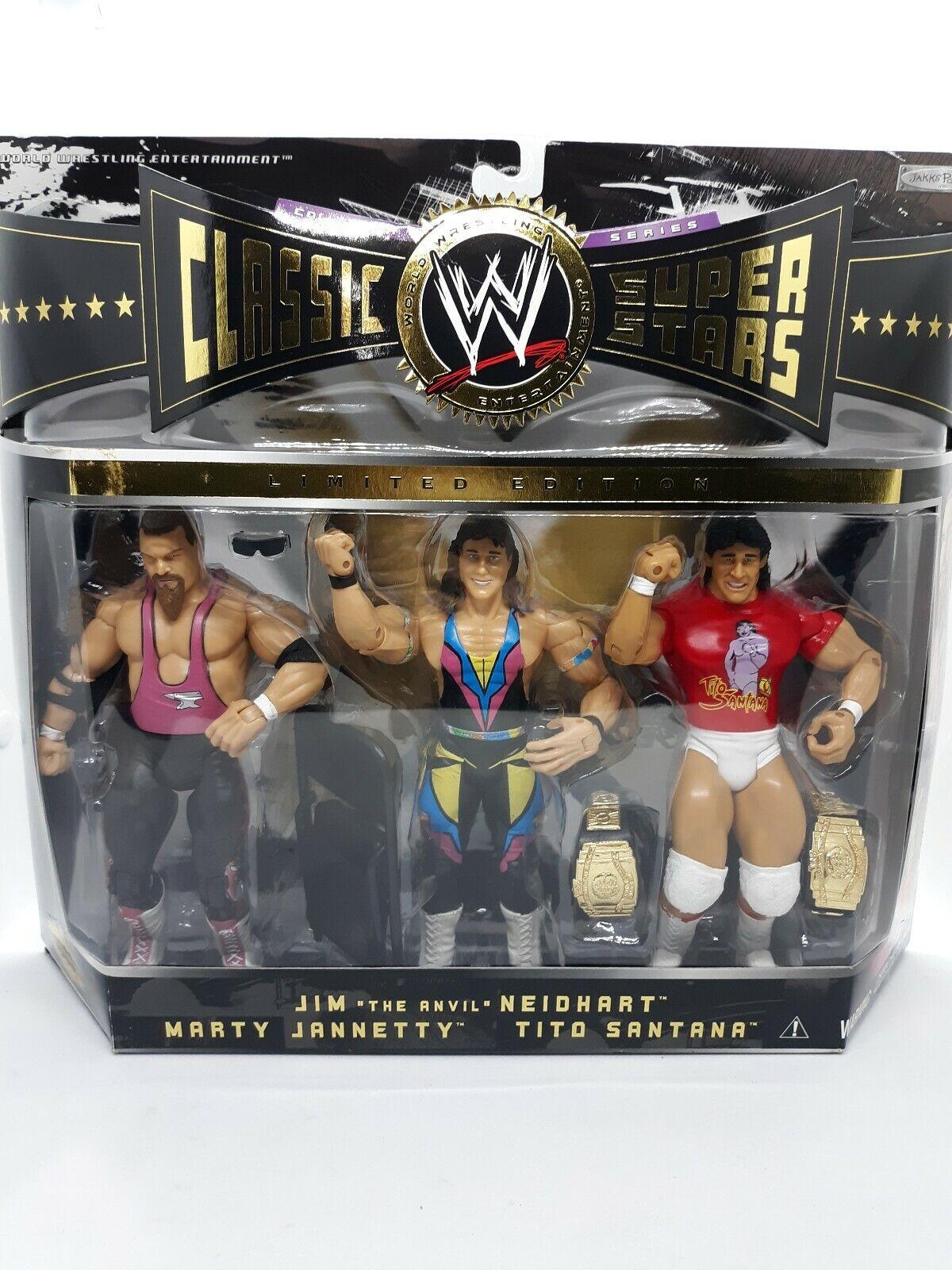 Jakks Classic WWE Super Stars NEIDHART JANNETTY & SANTANA 3-PACK A30