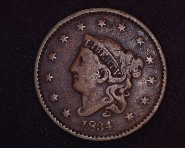 1834 Coronet Large Cent Large 8, Small Stars, Large Letters Matron Head Penny