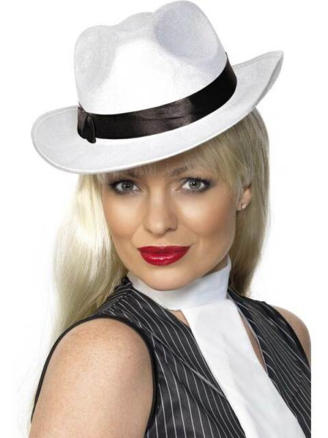 Gangster Hat White, One Size, 1920's Razzle Fancy Dress/Cosplay #CA