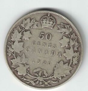 CANADA-1920-NARROW-0-50-CENTS-HALF-DOLLAR-KING-GEORGE-V-SILVER-COIN