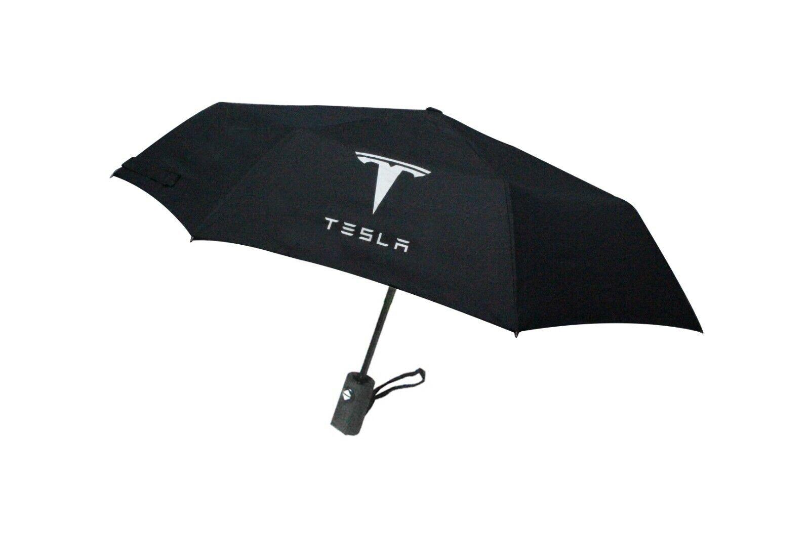 Automatic Folding Black Umbrella Rain Quality windproof UV Fit For TESLA Model