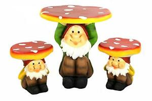 3 Piece Jolly Gnome Table And Chair Novelty Garden Furniture Set Ebay