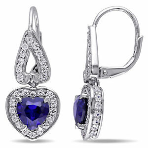 Amour Sterling Silver Created Blue and White Sapphire Heart Earrings