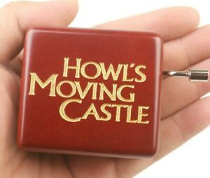 Sankyo Red Wood Engrave HOWLS MOVING CASTLE Hand Crank Music Box