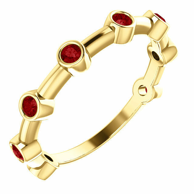 Genuine Ruby Bezel Set Bar Ring In 14K Yellow gold