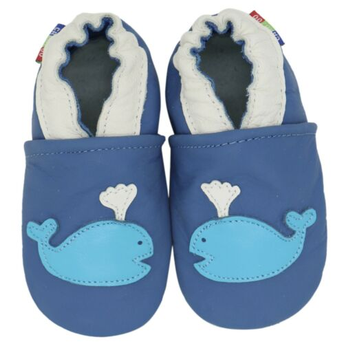 carozoo whale blue 3-4y new soft sole leather baby shoes