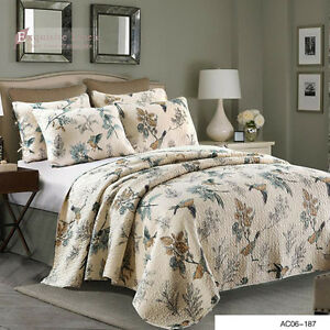 Cotton-Home-Quilted-Coverlet-Rug-Bedspreads-Queen-Size-Modern-Birds-3Pc-Set-Bed