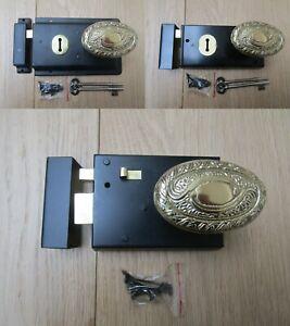 Complexé Rim Lock Door Knob Poignée Fixe Salle De Bain Chambre à Coucher Snib Loquet Ancienne Rétro Victorien-afficher Le Titre D'origine