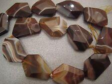 Caramel Stripe Agate Flat Faceted Beads 9pcs