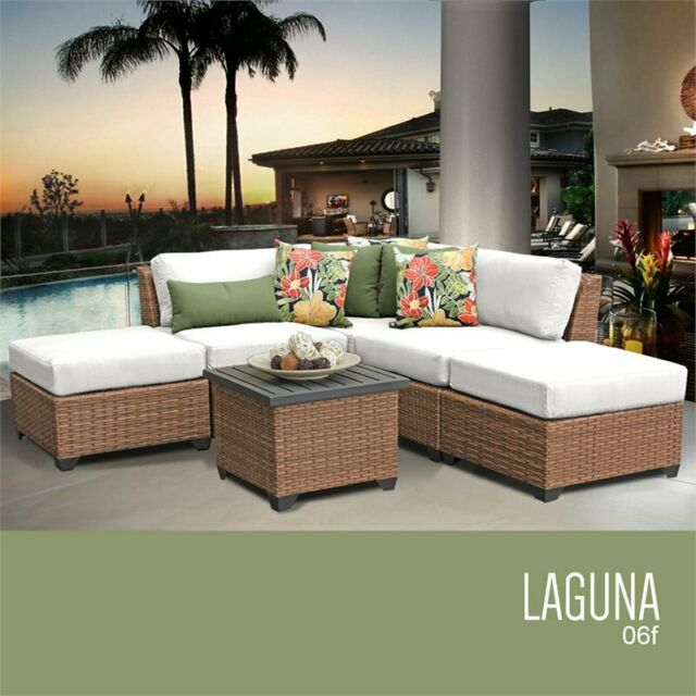Magnificent Tkc Laguna 6 Piece Patio Wicker Sofa Set In White Caraccident5 Cool Chair Designs And Ideas Caraccident5Info
