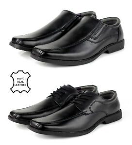 Mens-Smart-Leather-Shoes-Slip-on-Black-Formal-Lace-Up-Dress-Office-Work-School