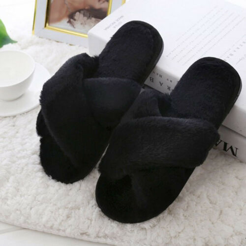 Womens Fluffy Fur Slipper Shoes Flat Sliders Home Winter Indoor Warm Flip Flops