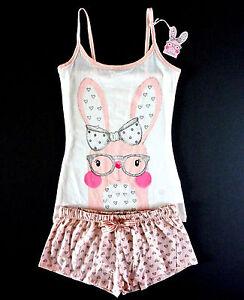 Damen-Bunny-Hase-Pyjama-Shorty-Set-Top-Shorts-Herz-Pink-S-M-Ostern-Primark-Neu