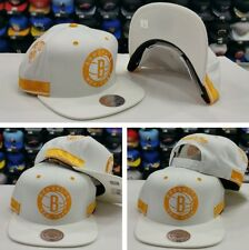 Exclusive Mitchell Ness NBA White / Yellow Brooklyn Nets Adjustable snapback Hat