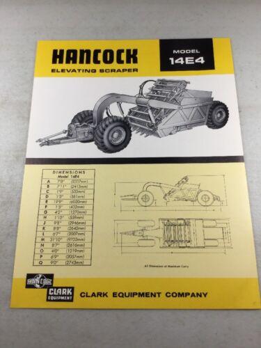 Clark Equipment 14E4 Scraper Sales Brochure Original Hancock