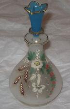 "Antique/Vintage Opalescent Enameled Glass Perfume Bottle 6"" Height & 3"" Diameter"