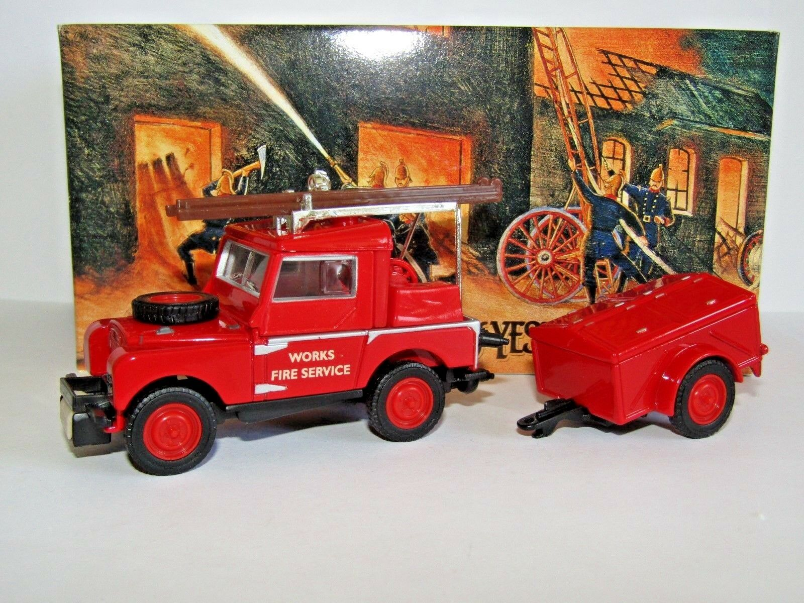 MATCHBOX MODELS OF YESTERYEAR 1952 LAND ROVER & TRAILER WORKS FIRE SERVICE YFE02
