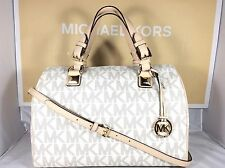 NWT Authentic Michael Kors Vanilla Signature PVC Grayson Large Satchel Bag Purse