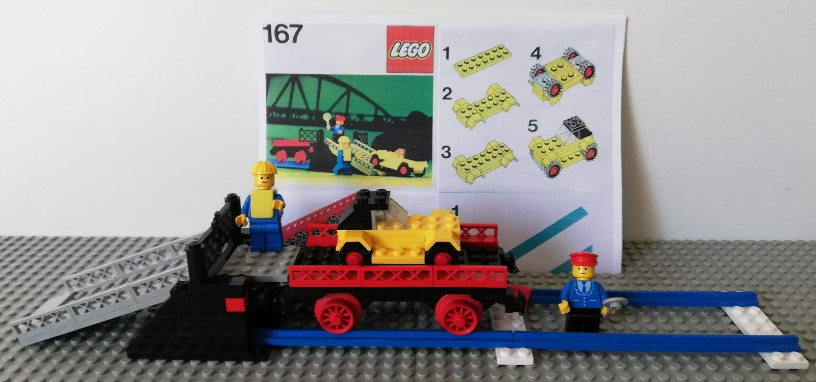 LEGO ® 167 LOADING RAMP and car transport wagon BA figurine voiture wagon de Chemin de fer train
