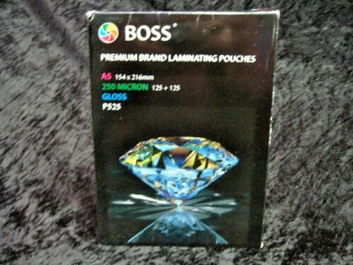 A5 Laminating Pouches 250 Microns Pack of 100 Hot Seal 154x216mm Boss P525 Gloss