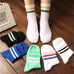 Casual-Men-Women-039-s-Cotton-Socks-Striped-Sport-Socks-Business-Gym-Football-New